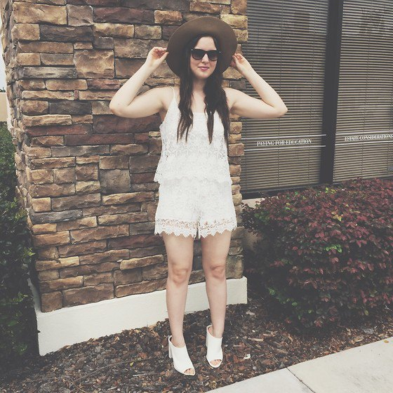 white lace in two faux romper
