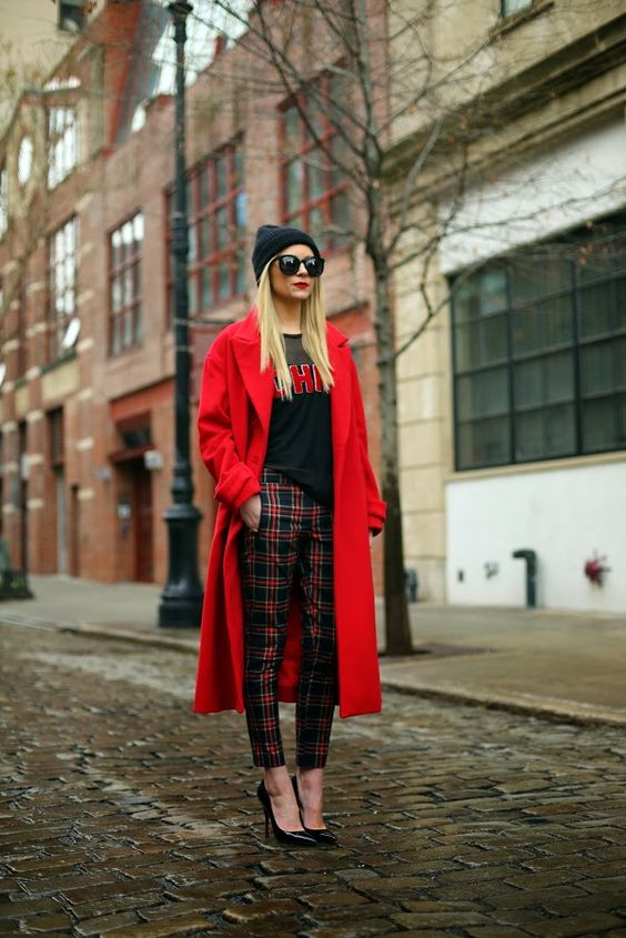 red plaid trousers long jacket