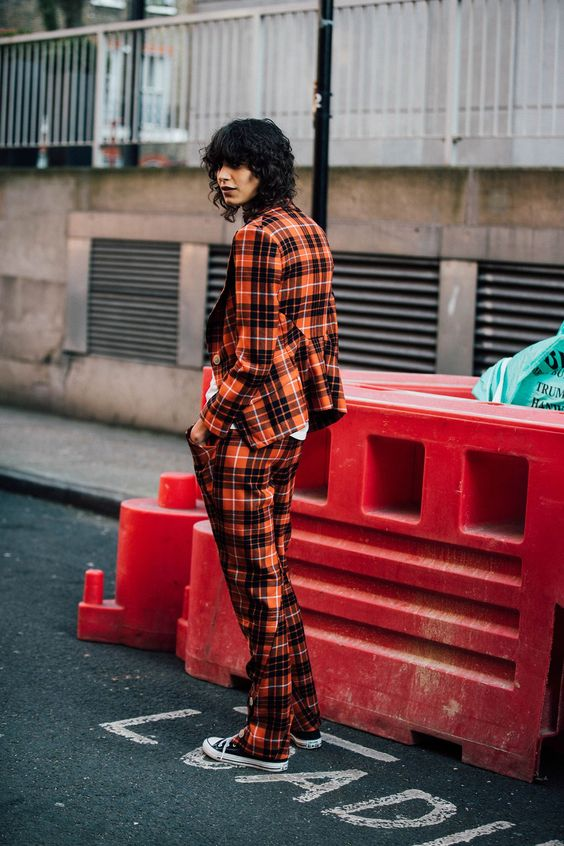 red plaid trousers pant duit