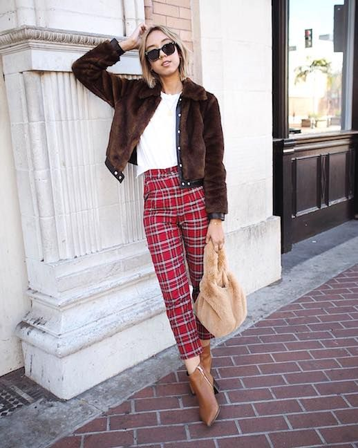 red plaid trousers fur jacket