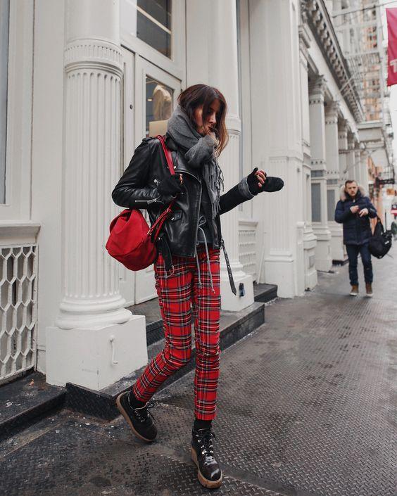 red plaid trousers leather jacket