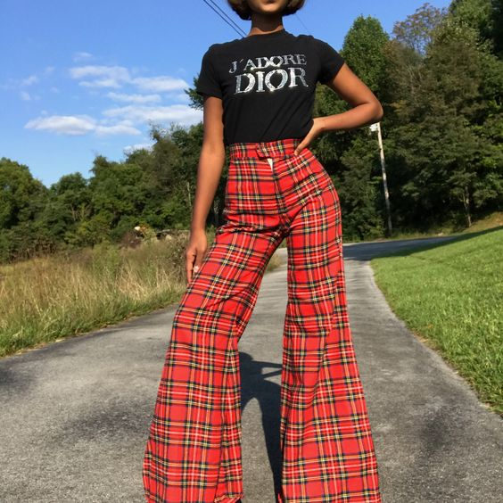 red plaid trousers bell bottoms