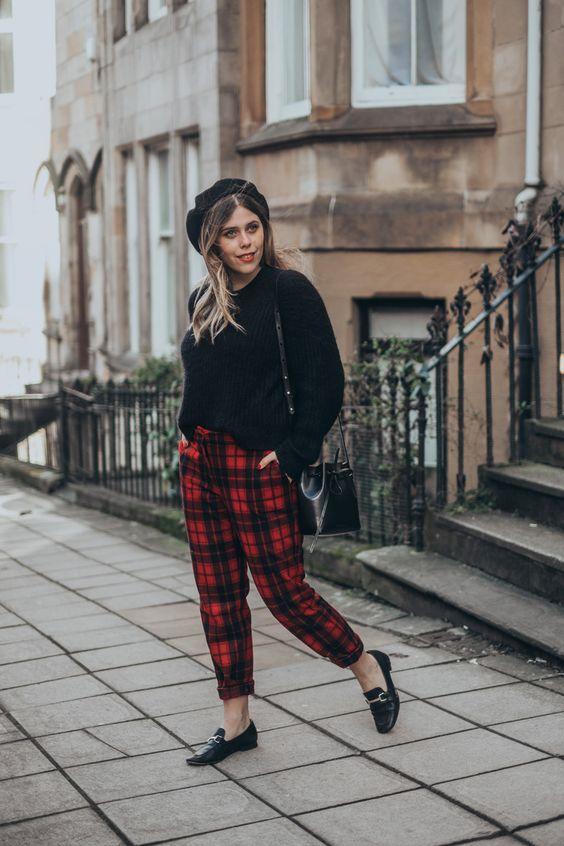 red Parisian Plaid Pants