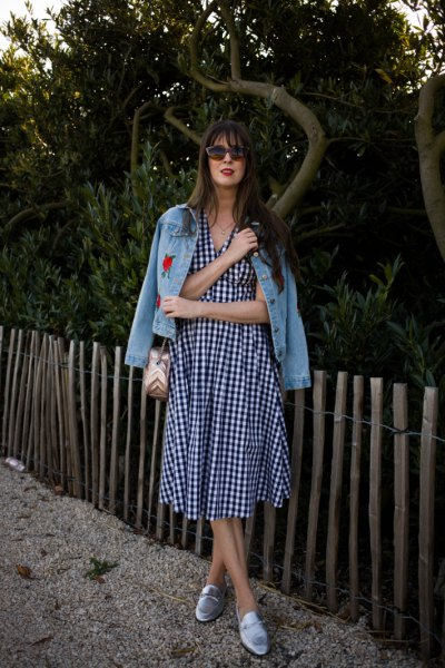 checkered midi-extended dress with embroidered denim jackets loafers