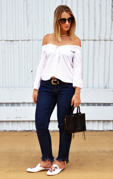 white from the shoulder blouse with embroidered slides