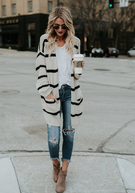 striped cardigan casual