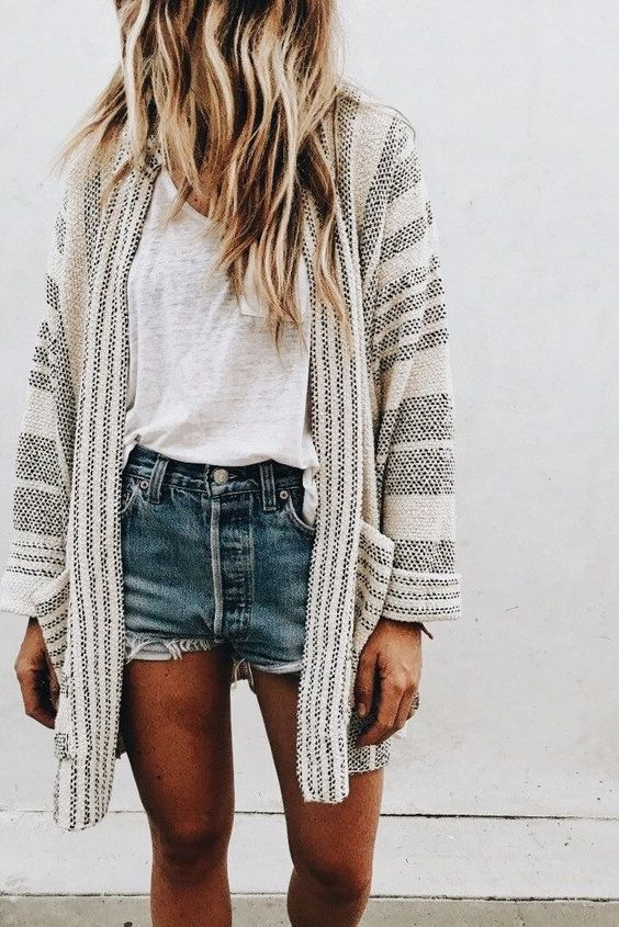 striped cardigan jeans