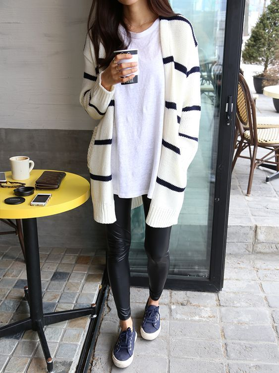 striped cardigan leather leggings
