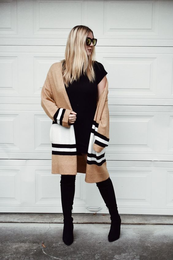 striped cardigan camel black