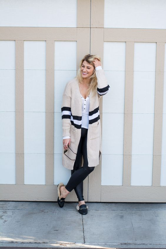 striped cardigan leather