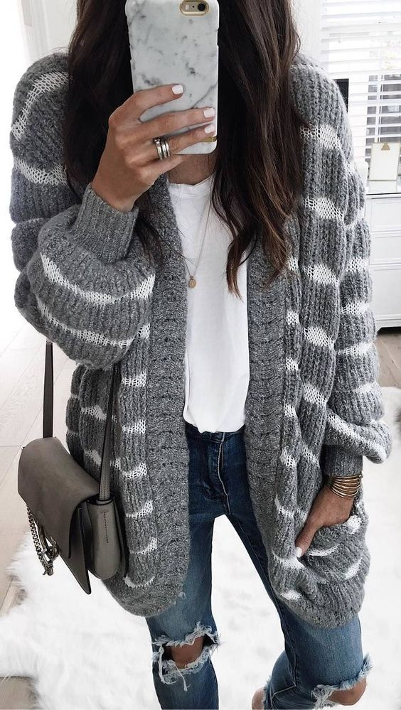 striped cardigan gray