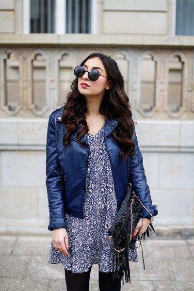 navy blue leather jacket with black tribal chiffon mini dress