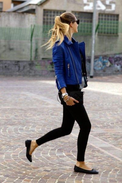 blue leather jacket black vest top skinny jeans