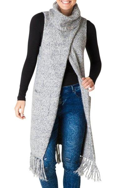 gray turtleneck long sweater west edge details