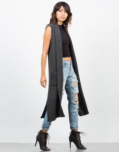 dark gray long sweater vest black harvest top ripped boyfriend jeans