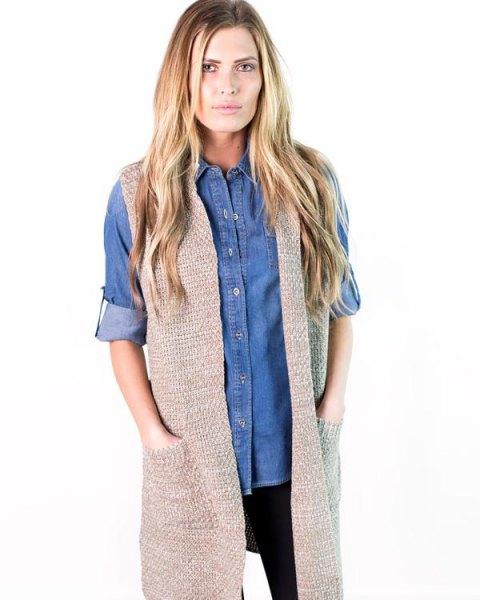 blue chambray boyfriend shirt gray sweater vest