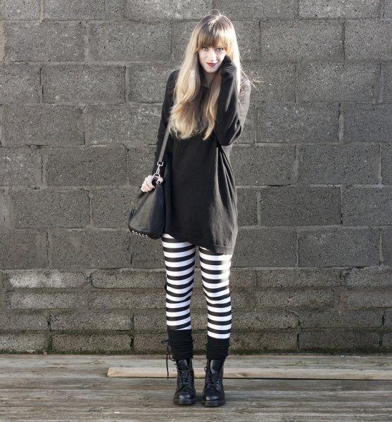 black sweater dress up horizontal striped leggings