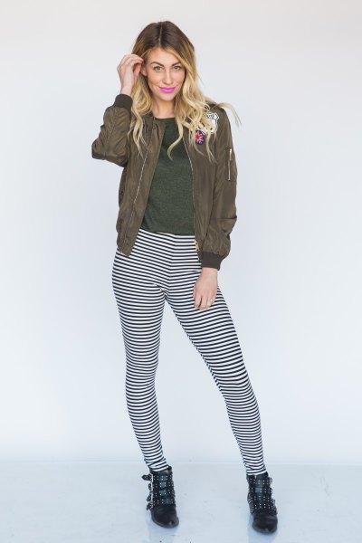 green bomber jacket slim striped leggings