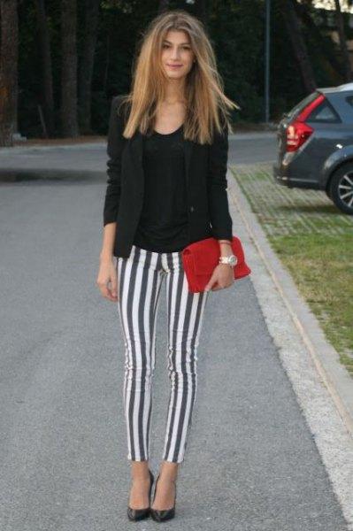black blazer gray and white vertical striped leggings