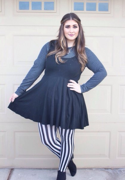gray long-sleeved tee black fit and flare mini dress