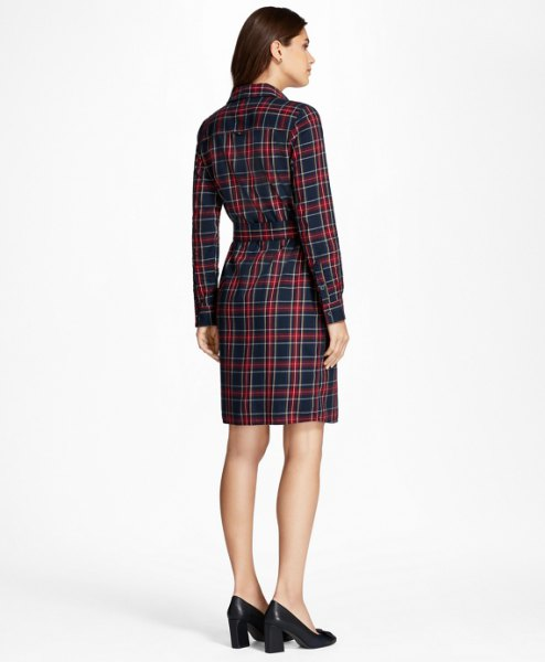burgundy and navy checkered flannel belt shirt dress