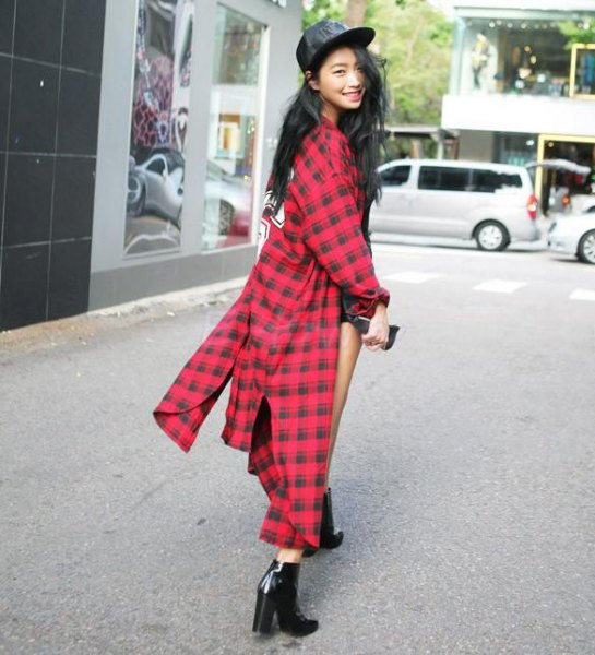 red and black checkered maxi flannel shirt dress baseball cap