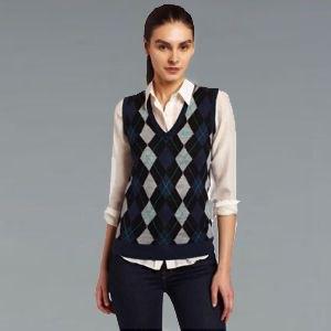 gray and black diamond patterned sweater vest light pink shirt