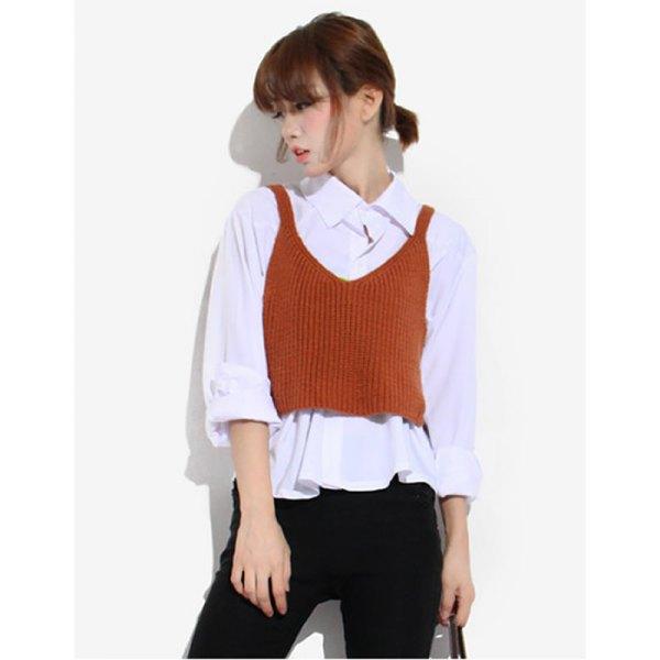 green ribbed mini sweater vest white ruffle shirt