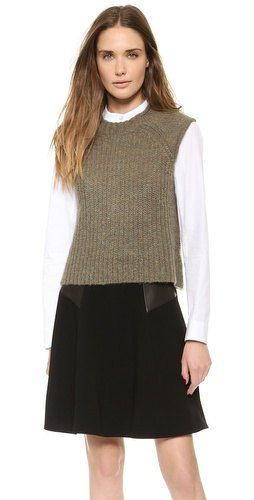 green ribbed sweater vest black blown out mini skirt