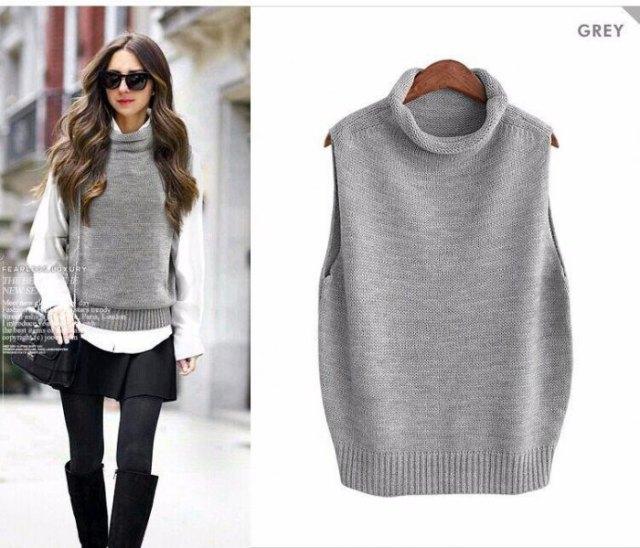 turtleneck gray sweater vest white shirt black skirt