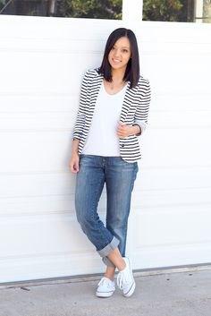 striped blazer white tee gray-blue boyfriend jeans