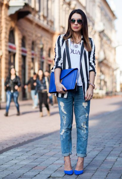 black and white vertical striped blazer ripped boyfriend jeans