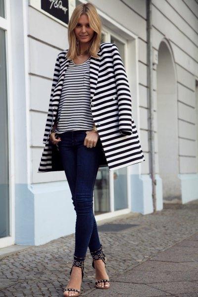 long blazer black and white striped tee skinny jeans