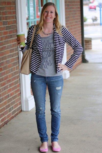 casual black and white striped blazer gray print tee