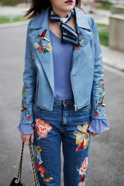 blue embroidered leather jacket with scarf jeans