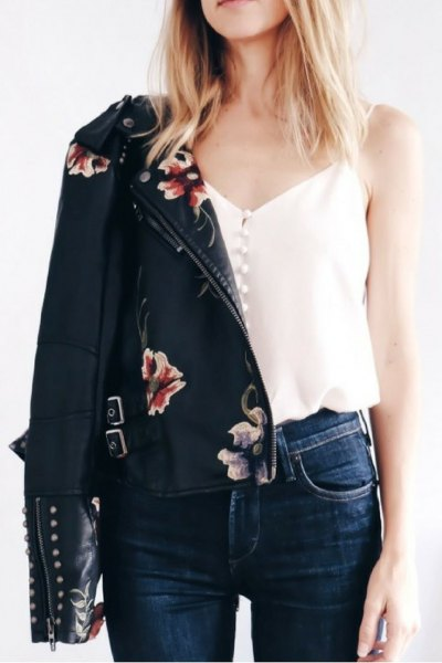 white button up camisole black embroidered leather jacket
