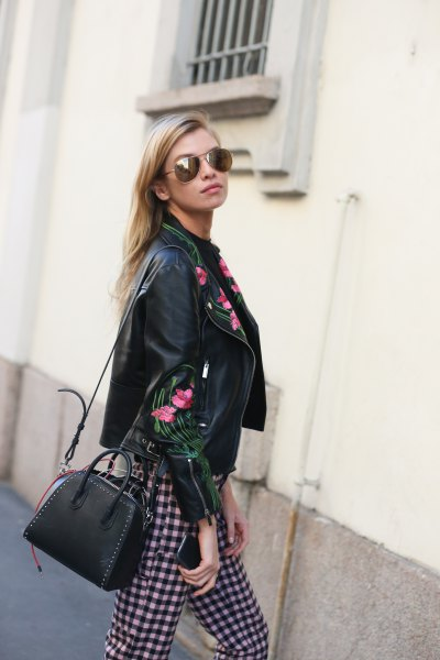 black embroidered leather jacket plaid trousers