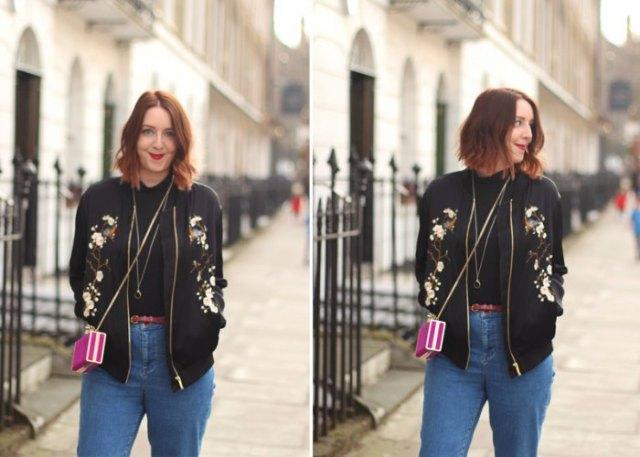 black embroidered jacket blue mom jeans