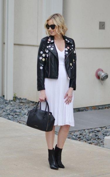 black embroidered leather jacket white chiffon midi puffy dress