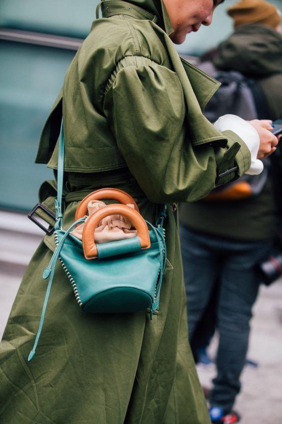 leather shoulder bag blue brown