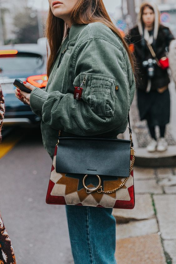 leather shoulder bag colorful suede