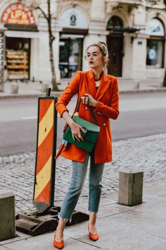 leather shoulder bag orange blazer