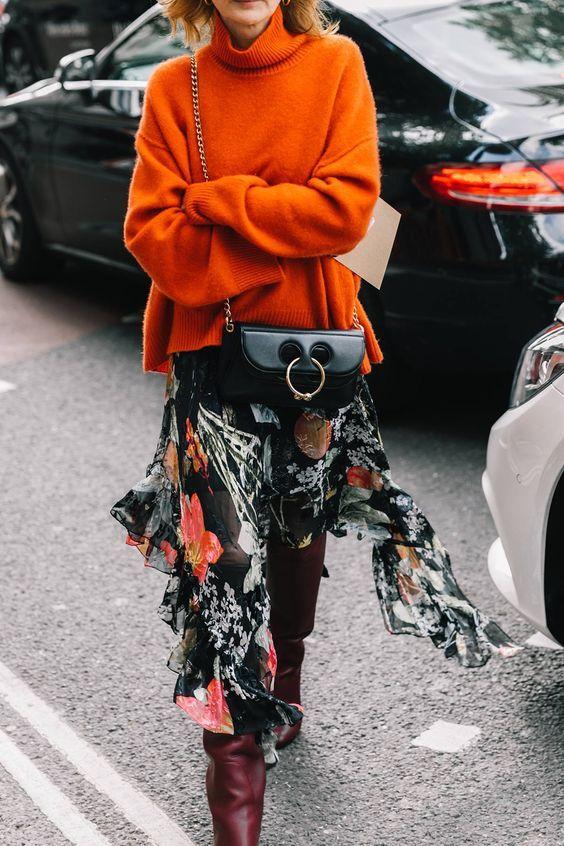 leather shoulder bag floral skirt