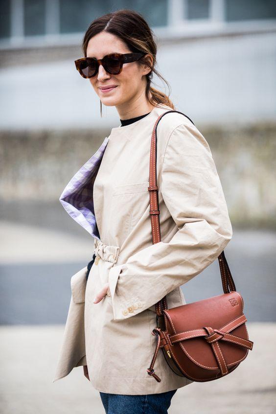 leather shoulder bag brown stylish