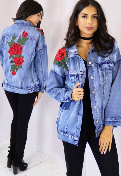 rose embroidered boyfriend denim jacket black jeans