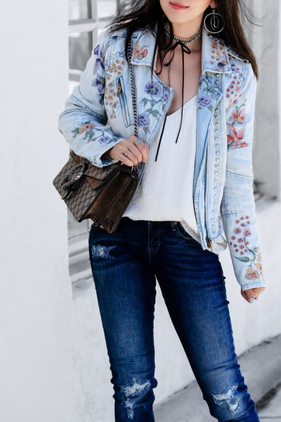 light blue denim jacket white camisole jeans