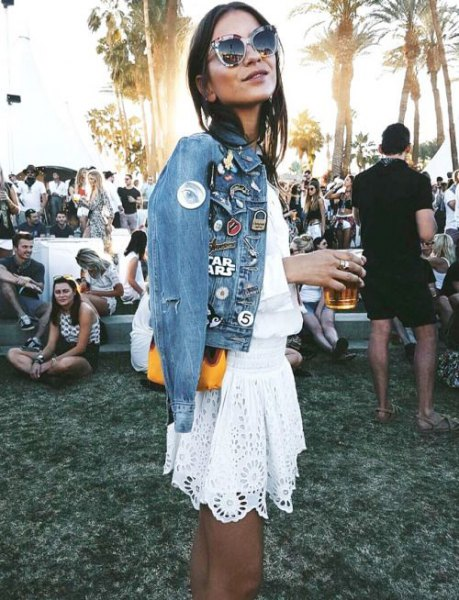 blue embroidered denim jacket white lace skirt