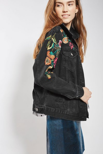 black embroidered denim jacket blue dress