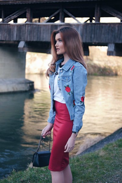 blue roses embroidered denim jacket red midi pencil skirt