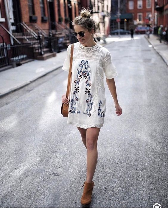 white embroidered dress straight